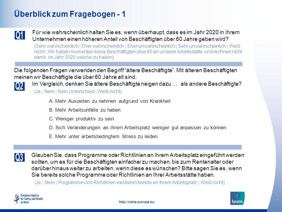 4 http://osha.europa.eu Überblick zum Fragebogen - 1 Für wie wahrscheinlich halten Sie es, wenn überhaupt, dass es im Jahr 2020 in Ihrem Unternehmen e