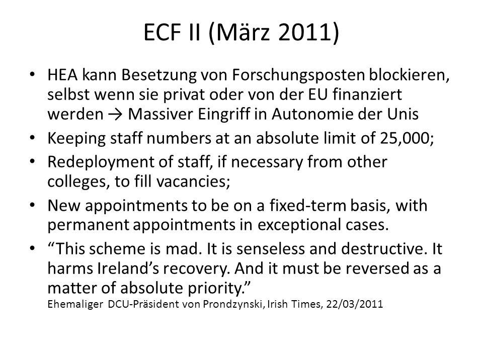 ECF II (März 2011) HEA kann Besetzung von Forschungsposten blockieren, selbst wenn sie privat oder von der EU finanziert werden Massiver Eingriff in A