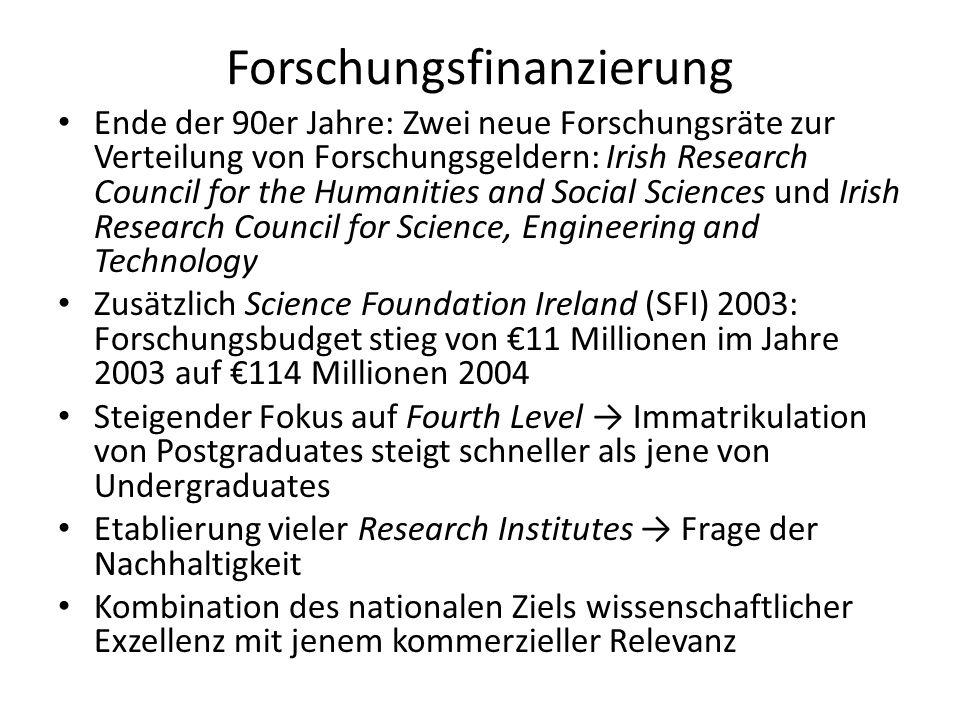 Forschungsfinanzierung Ende der 90er Jahre: Zwei neue Forschungsräte zur Verteilung von Forschungsgeldern: Irish Research Council for the Humanities a