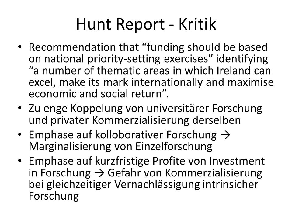 Hunt Report - Kritik Recommendation that funding should be based on national priority-setting exercises identifying a number of thematic areas in whic