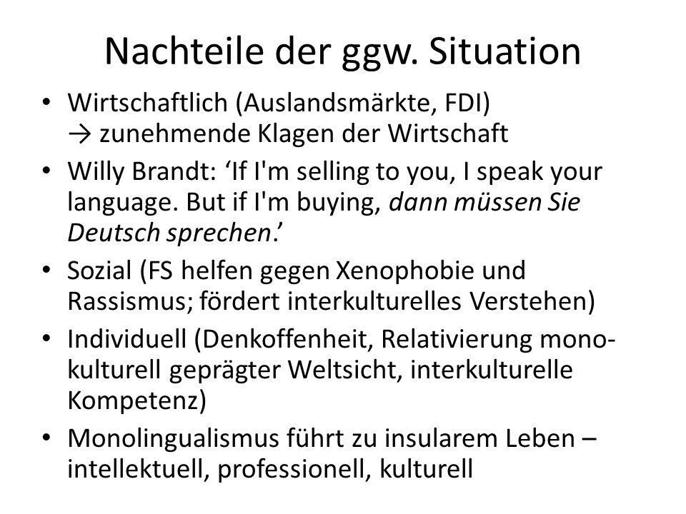 Nachteile der ggw. Situation Wirtschaftlich (Auslandsmärkte, FDI) zunehmende Klagen der Wirtschaft Willy Brandt: If I'm selling to you, I speak your l