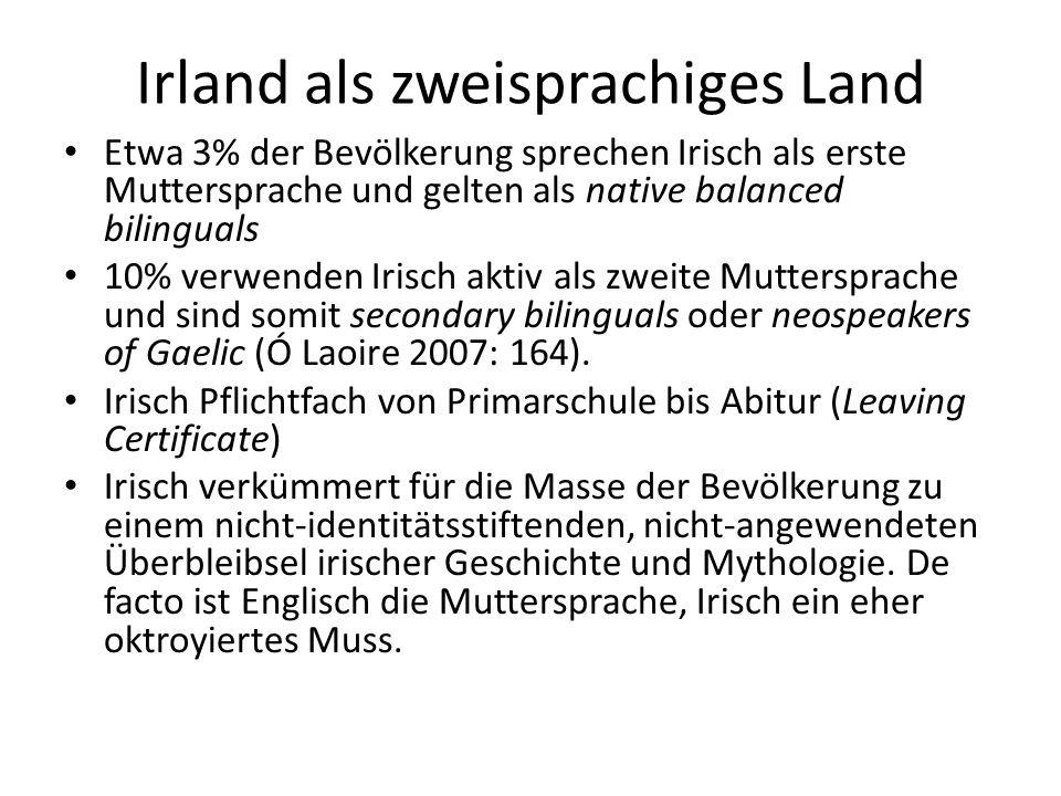 Irland als zweisprachiges Land Etwa 3% der Bevölkerung sprechen Irisch als erste Muttersprache und gelten als native balanced bilinguals 10% verwenden