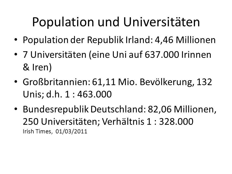 Population und Universitäten Population der Republik Irland: 4,46 Millionen 7 Universitäten (eine Uni auf 637.000 Irinnen & Iren) Großbritannien: 61,1