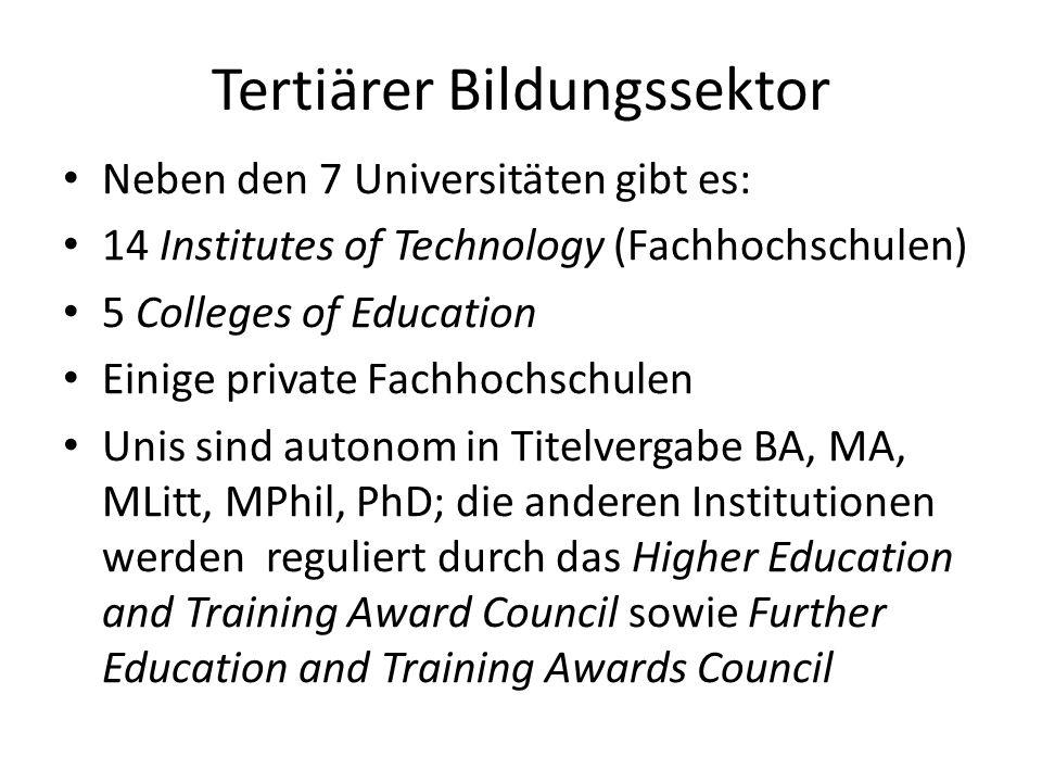 Tertiärer Bildungssektor Neben den 7 Universitäten gibt es: 14 Institutes of Technology (Fachhochschulen) 5 Colleges of Education Einige private Fachh