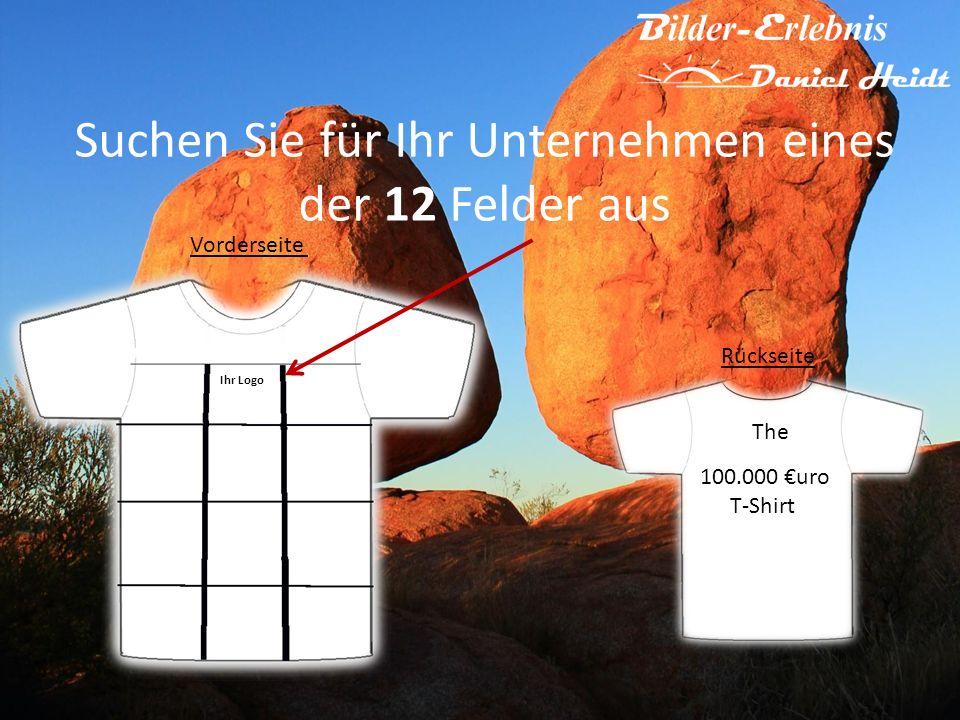 Suchen Sie für Ihr Unternehmen eines der 12 Felder aus 100.000 uro T-Shirt The Rückseite Vorderseite Ihr Logo