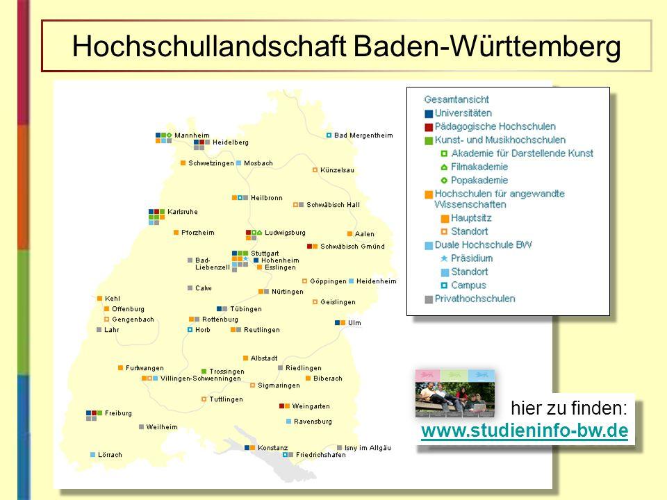 hier zu finden: www.studieninfo-bw.de www.studieninfo-bw.de hier zu finden: www.studieninfo-bw.de www.studieninfo-bw.de Hochschullandschaft Baden-Würt