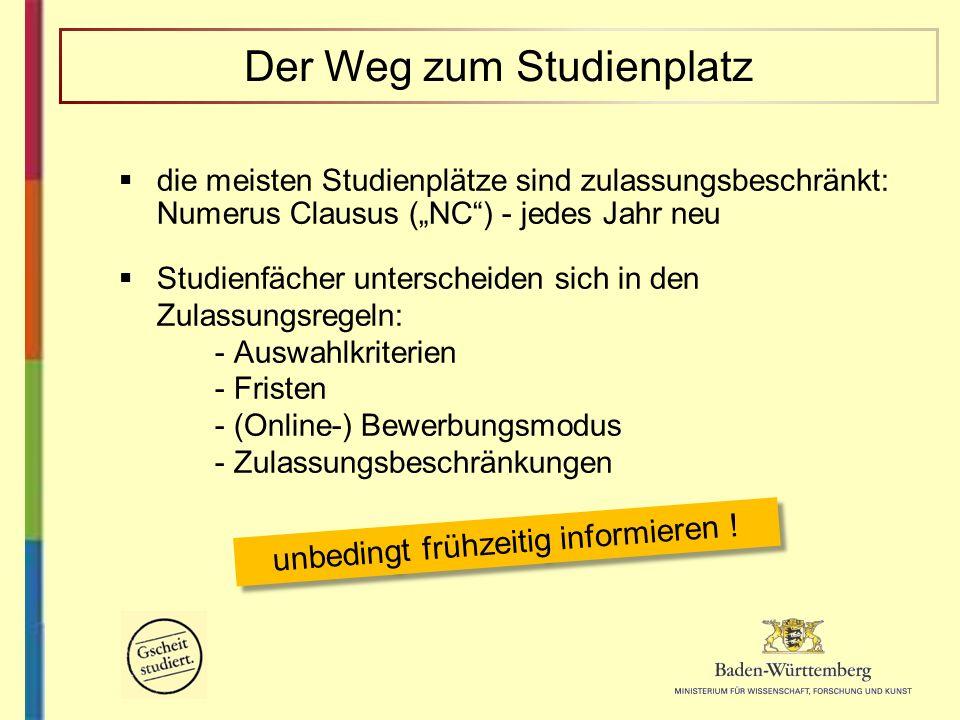 die meisten Studienplätze sind zulassungsbeschränkt: Numerus Clausus (NC) - jedes Jahr neu Studienfächer unterscheiden sich in den Zulassungsregeln: -
