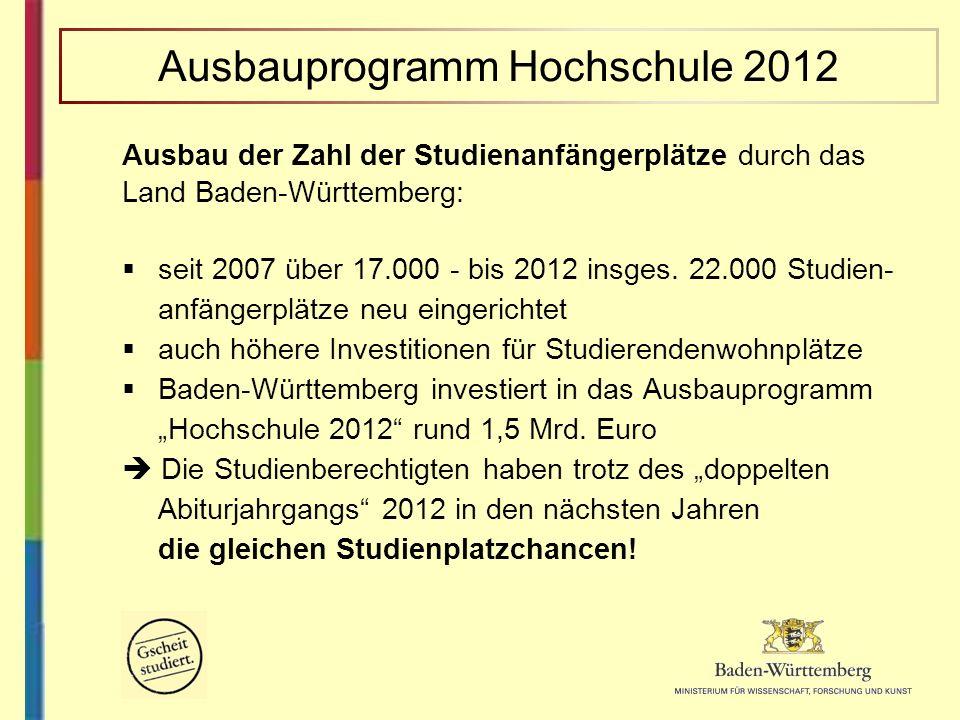 Ausbau der Zahl der Studienanfängerplätze durch das Land Baden-Württemberg: seit 2007 über 17.000 - bis 2012 insges. 22.000 Studien- anfängerplätze ne