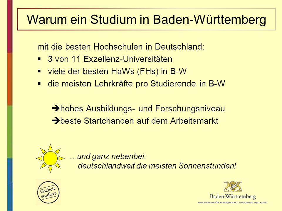 mit die besten Hochschulen in Deutschland: 3 von 11 Exzellenz-Universitäten viele der besten HaWs (FHs) in B-W die meisten Lehrkräfte pro Studierende