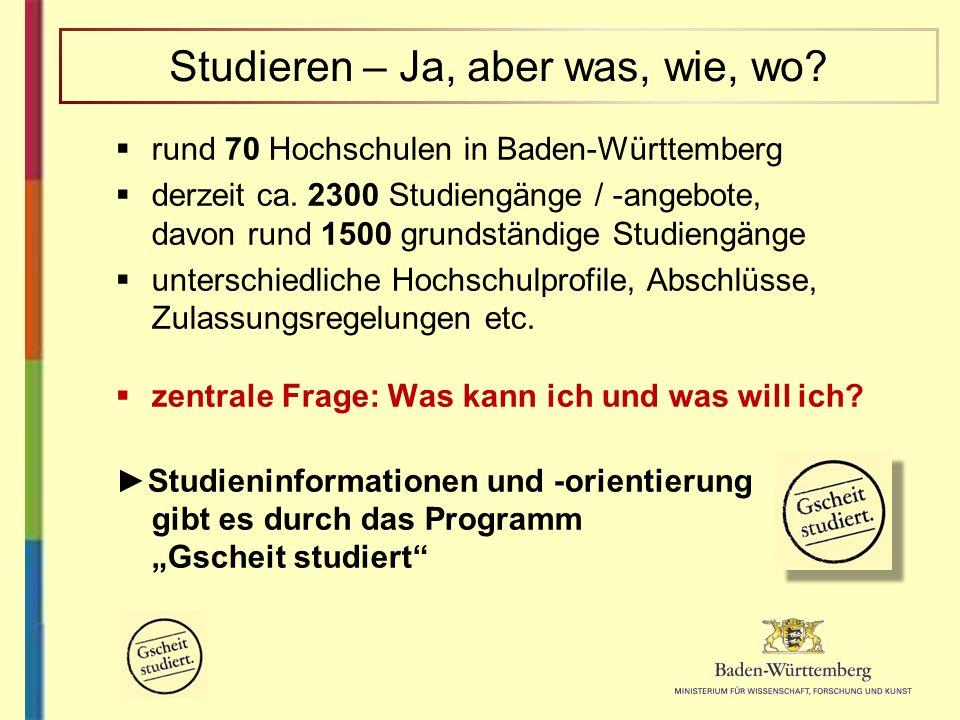 rund 70 Hochschulen in Baden-Württemberg derzeit ca. 2300 Studiengänge / -angebote, davon rund 1500 grundständige Studiengänge unterschiedliche Hochsc