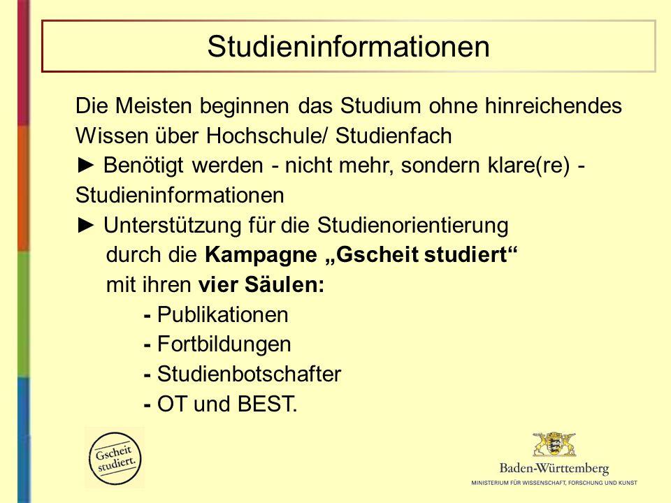 Die Meisten beginnen das Studium ohne hinreichendes Wissen über Hochschule/ Studienfach Benötigt werden - nicht mehr, sondern klare(re) - Studieninfor