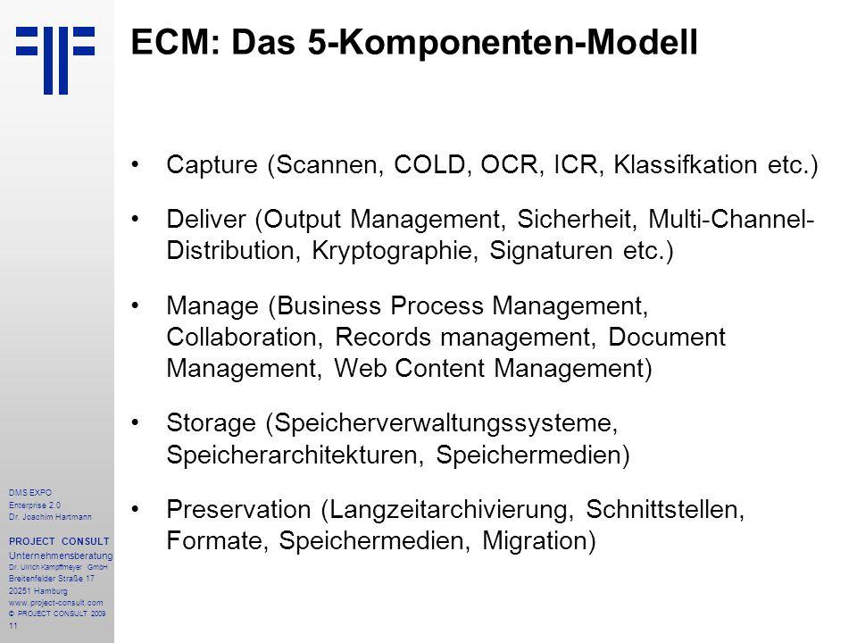 11 DMS EXPO Enterprise 2.0 Dr. Joachim Hartmann PROJECT CONSULT Unternehmensberatung Dr. Ulrich Kampffmeyer GmbH Breitenfelder Straße 17 20251 Hamburg