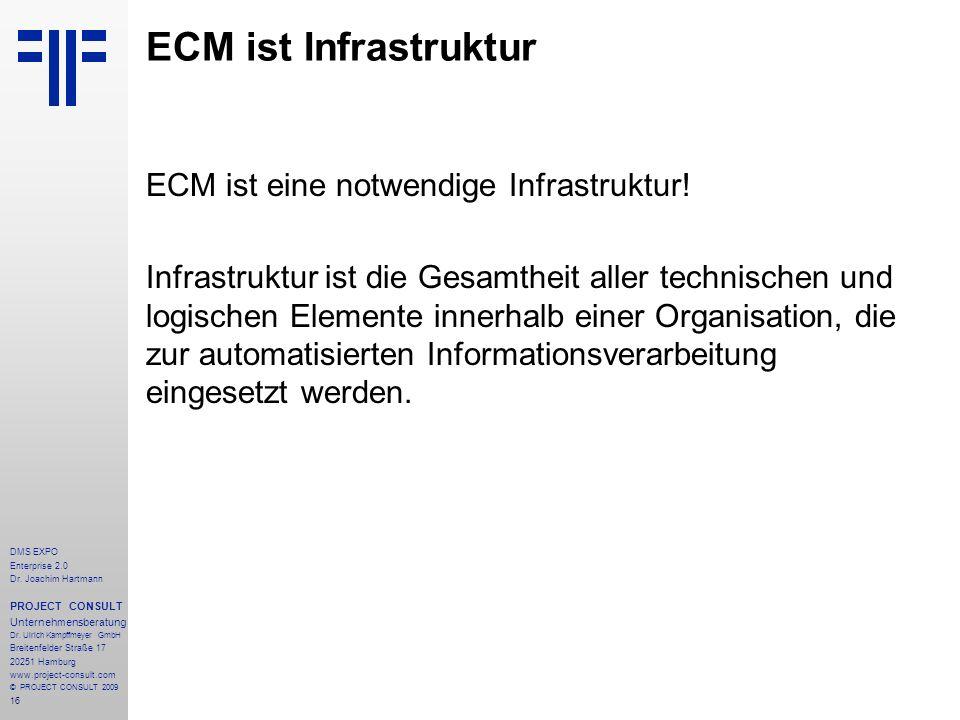 16 DMS EXPO Enterprise 2.0 Dr. Joachim Hartmann PROJECT CONSULT Unternehmensberatung Dr. Ulrich Kampffmeyer GmbH Breitenfelder Straße 17 20251 Hamburg