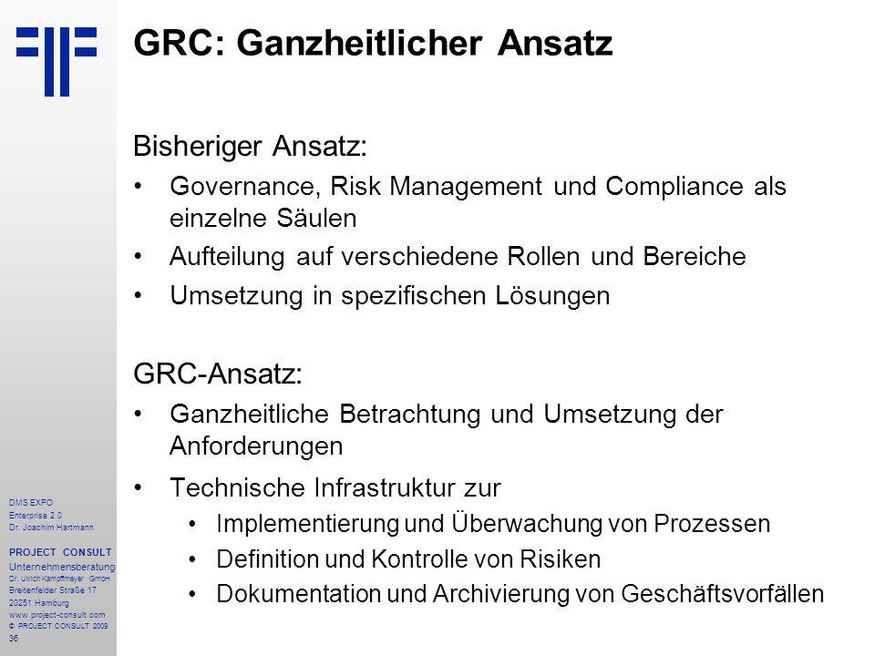 36 DMS EXPO Enterprise 2.0 Dr. Joachim Hartmann PROJECT CONSULT Unternehmensberatung Dr. Ulrich Kampffmeyer GmbH Breitenfelder Straße 17 20251 Hamburg