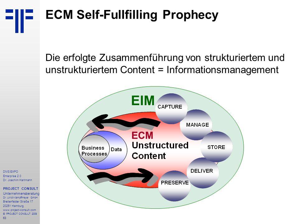 63 DMS EXPO Enterprise 2.0 Dr. Joachim Hartmann PROJECT CONSULT Unternehmensberatung Dr. Ulrich Kampffmeyer GmbH Breitenfelder Straße 17 20251 Hamburg