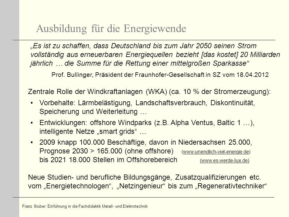 Franz Stuber: Einführung in die Fachdidaktik Metall- und Elektrotechnik Luftgestützte Windenergiesysteme revolutionieren Windkrafttechnologie ?!.