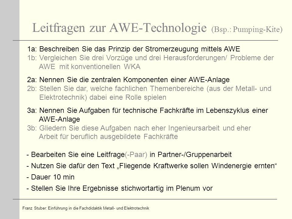 Leitfragen zur AWE-Technologie (Bsp.: Pumping-Kite) 1a: Beschreiben Sie das Prinzip der Stromerzeugung mittels AWE 1b: Vergleichen Sie drei Vorzüge un