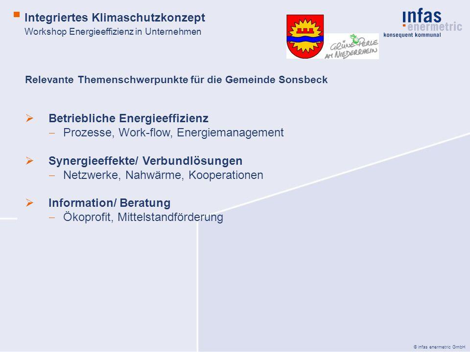 © infas enermetric GmbH Relevante Themenschwerpunkte für die Gemeinde Sonsbeck Betriebliche Energieeffizienz Prozesse, Work-flow, Energiemanagement Synergieeffekte/ Verbundlösungen Netzwerke, Nahwärme, Kooperationen Information/ Beratung Ökoprofit, Mittelstandförderung Integriertes Klimaschutzkonzept Workshop Energieeffizienz in Unternehmen
