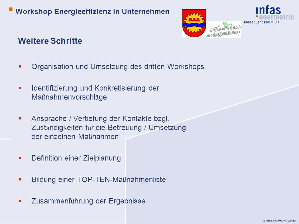 © infas enermetric GmbH Weitere Schritte Organisation und Umsetzung des dritten Workshops Identifizierung und Konkretisierung der Ma ß nahmenvorschl ä ge Ansprache / Vertiefung der Kontakte bzgl.