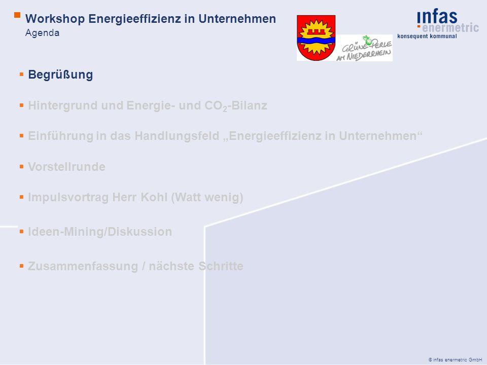 © infas enermetric GmbH Relevante Themenschwerpunkte: Einrichtung eines regelmäßigen Erfahrungsaustausches Effizienzkampagnen in Betrieben (z.