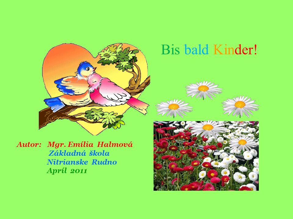 Autor: Mgr. Emília Halmová Základná škola Nitrianske Rudno Apríl 2011 Bis bald Kinder!