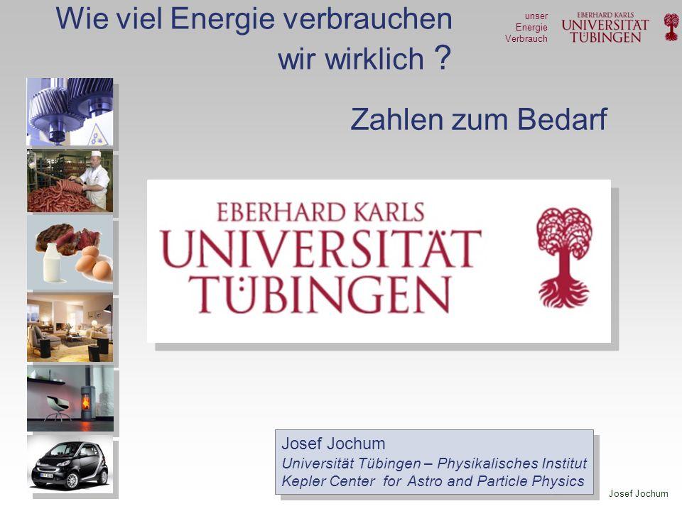 Josef Jochum unser Energie Verbrauch Allgemeiner Konsum - Beispiele Papier (Verpackungen, Zeitungen …) Energieaufwand – Herstellung: 3 kWh / kg Verbrauch in Deutschland: 232 kg / Pers./Jahr 2,0 kWh / Pers /Tag Büro-Papier-Anteil sehr gering PET (Getränkeflaschen) Energieaufwand – Herstellung: 23 kWh / kg Verbrauch in Deutschland : 5,3 kg / Pers./Jahr 0,3 kWh / Pers /Tag Glas Energieaufwand – Herstellung: ~1,5 kWh / kg Verbrauch in Deutschland : 88 kg / Pers./Jahr 0,4 kWh / Pers /Tag Getränkedosen 0,6 kWh / Dose