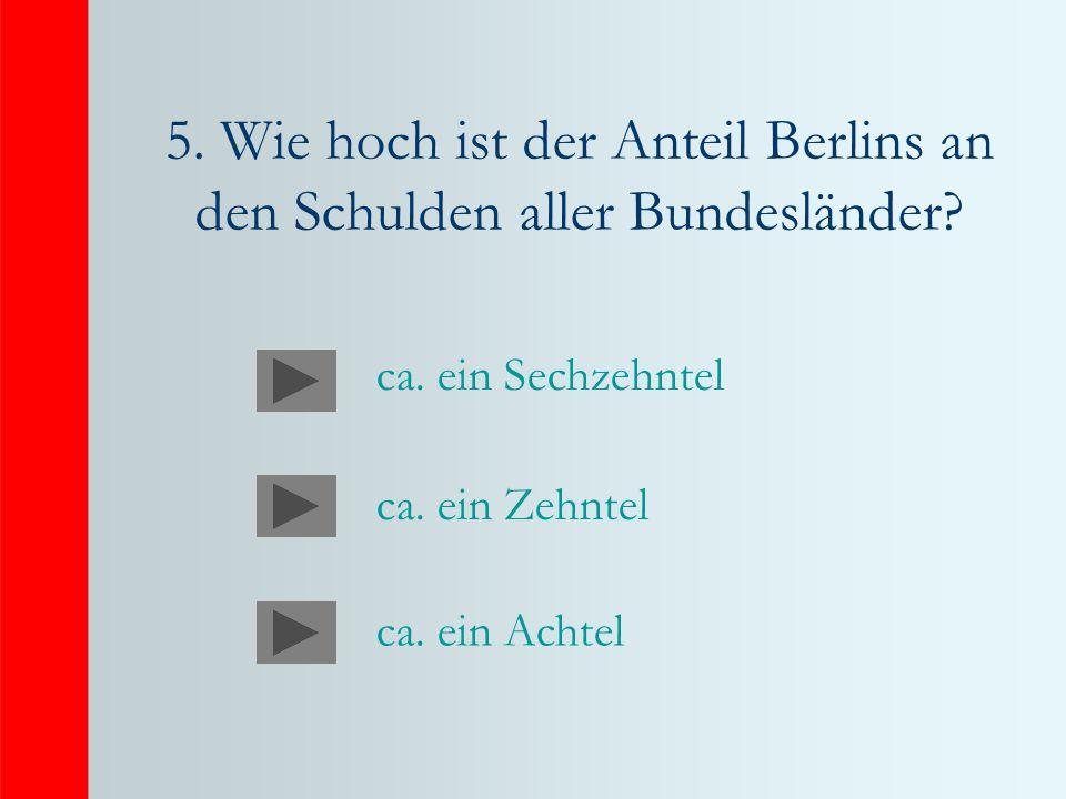 5. Wie hoch ist der Anteil Berlins an den Schulden aller Bundesländer? ca. ein Sechzehntel ca. ein Zehntel ca. ein Achtel