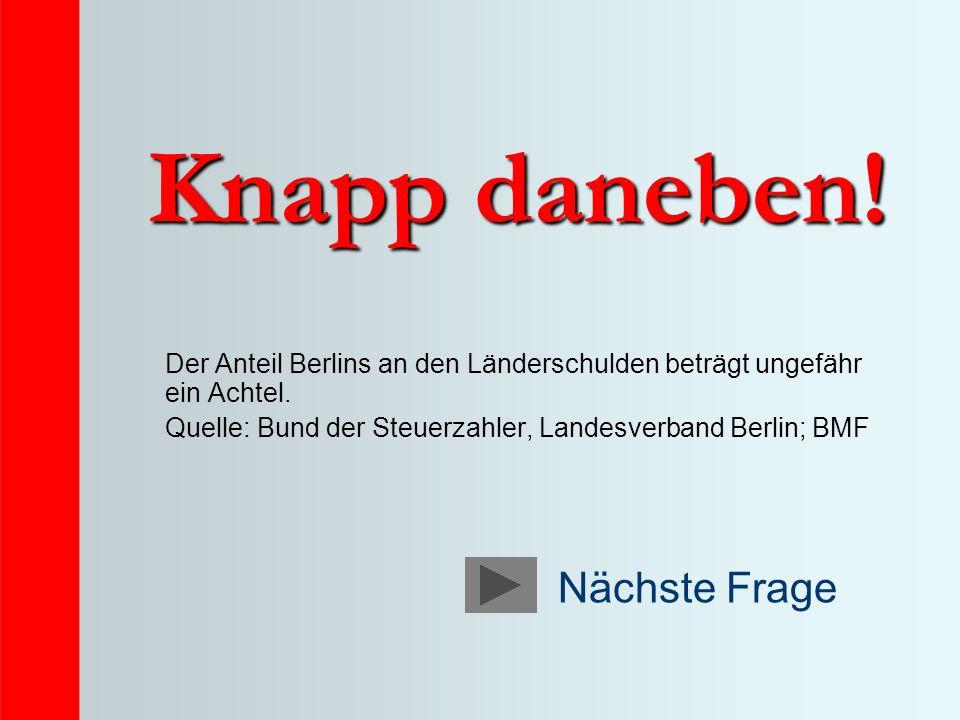 Knapp daneben! Der Anteil Berlins an den Länderschulden beträgt ungefähr ein Achtel. Quelle: Bund der Steuerzahler, Landesverband Berlin; BMF Nächste