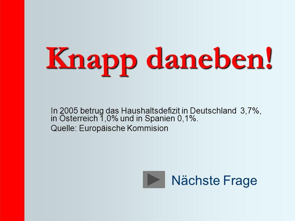 Knapp daneben! In 2005 betrug das Haushaltsdefizit in Deutschland 3,7%, in Österreich 1,0% und in Spanien 0,1%. Quelle: Europäische Kommision Nächste