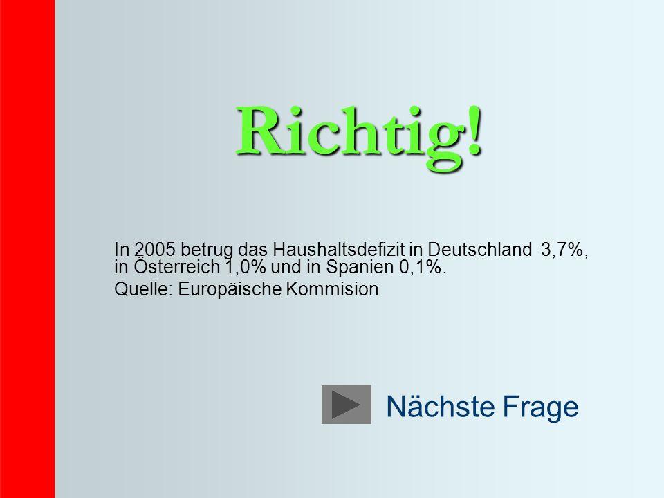 Richtig! In 2005 betrug das Haushaltsdefizit in Deutschland 3,7%, in Österreich 1,0% und in Spanien 0,1%. Quelle: Europäische Kommision
