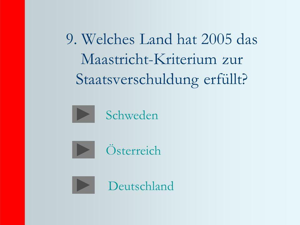 9. Welches Land hat 2005 das Maastricht-Kriterium zur Staatsverschuldung erfüllt.