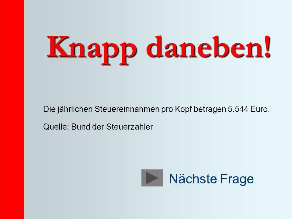 Knapp daneben! Die jährlichen Steuereinnahmen pro Kopf betragen 5.544 Euro. Quelle: Bund der Steuerzahler Nächste Frage