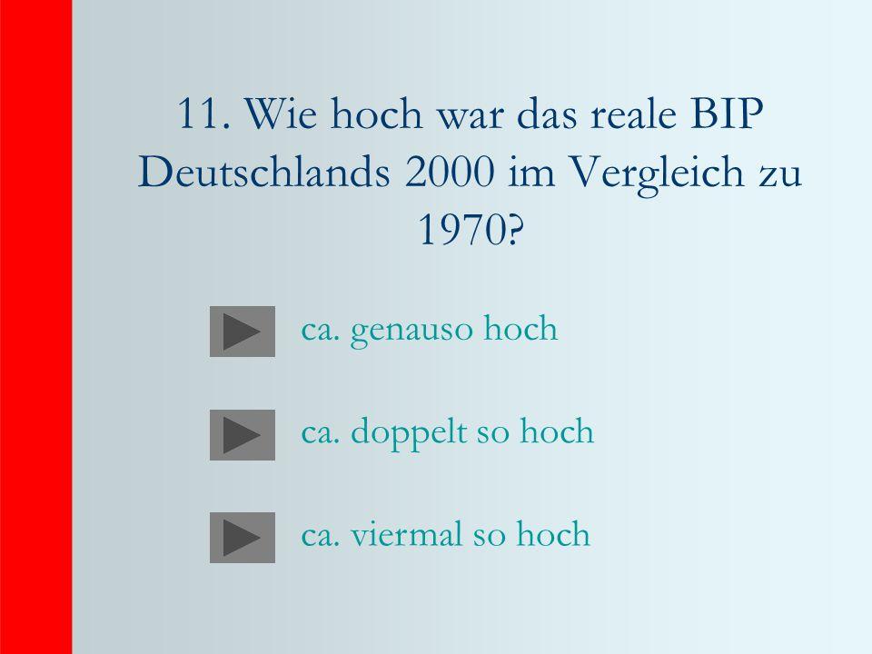 11. Wie hoch war das reale BIP Deutschlands 2000 im Vergleich zu 1970? ca. genauso hoch ca. doppelt so hoch ca. viermal so hoch