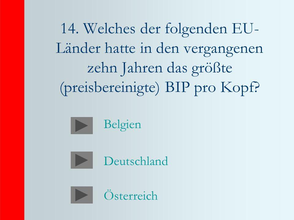 14. Welches der folgenden EU- Länder hatte in den vergangenen zehn Jahren das größte (preisbereinigte) BIP pro Kopf? Deutschland Österreich Belgien