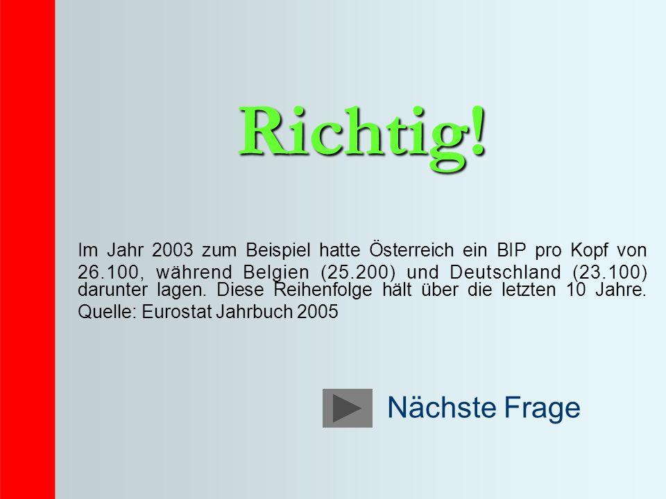 Richtig! Im Jahr 2003 zum Beispiel hatte Österreich ein BIP pro Kopf von 26.100, während Belgien (25.200) und Deutschland (23.100) darunter lagen. Die