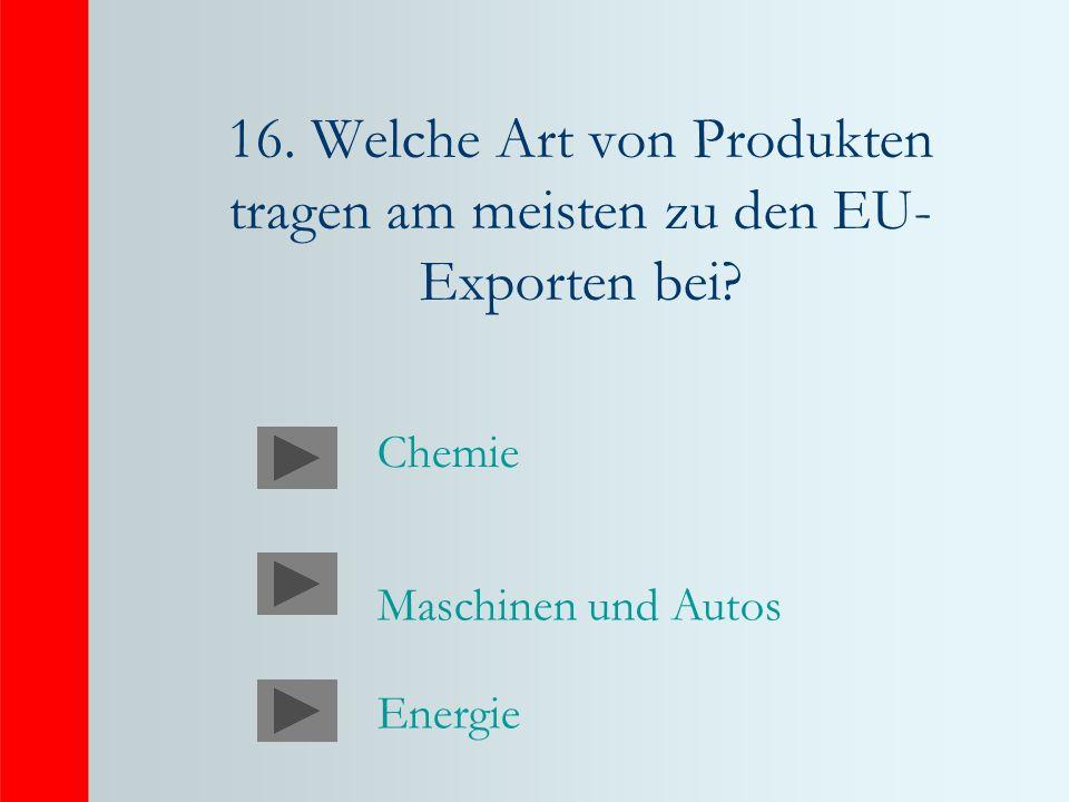 16. Welche Art von Produkten tragen am meisten zu den EU- Exporten bei? Maschinen und Autos Energie Chemie