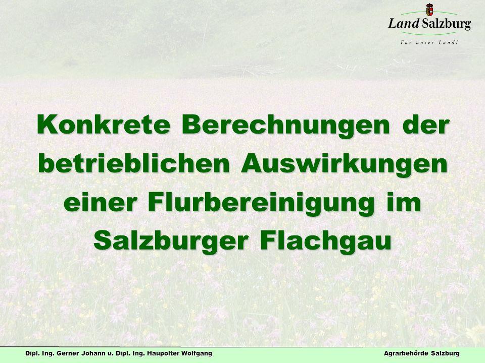 Dipl. Ing. Gerner Johann u. Dipl. Ing. Haupolter Wolfgang Agrarbehörde Salzburg Konkrete Berechnungen der betrieblichen Auswirkungen einer Flurbereini