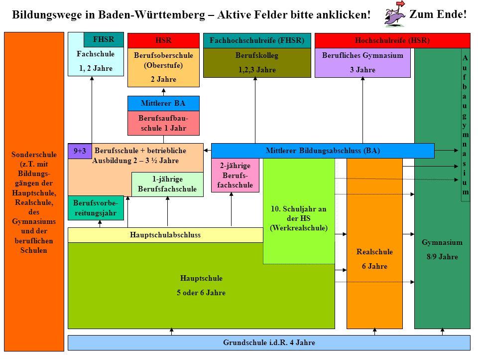 Bildungswege in Baden-Württemberg – Aktive Felder bitte anklicken! Grundschule i.d.R. 4 Jahre Sonderschule (z.T. mit Bildungs- gängen der Hauptschule,