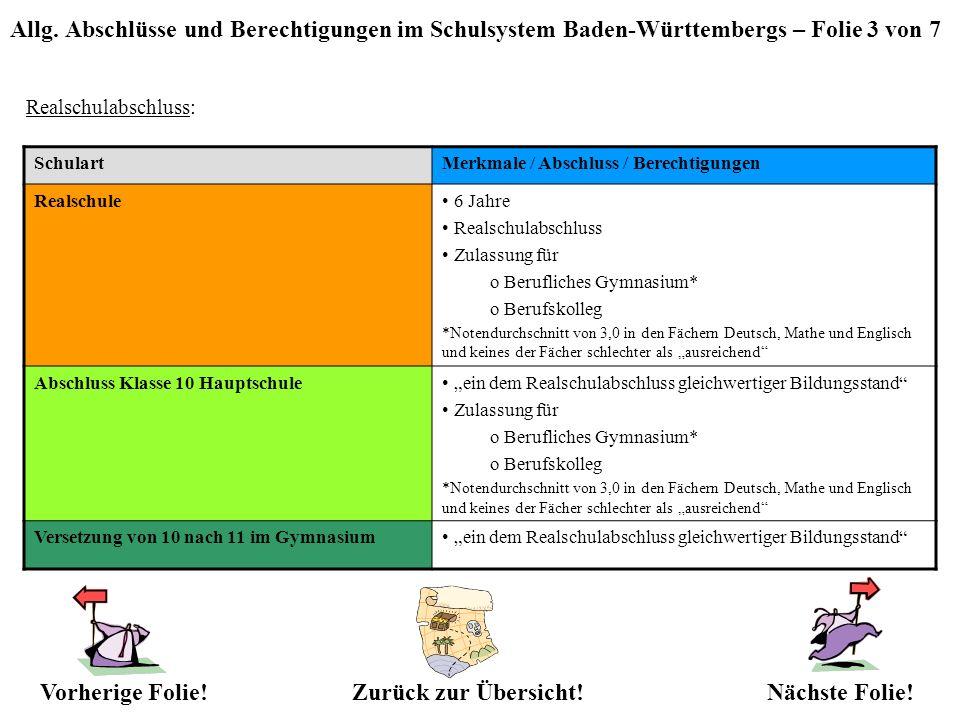 Allg. Abschlüsse und Berechtigungen im Schulsystem Baden-Württembergs – Folie 3 von 7 Realschulabschluss: SchulartMerkmale / Abschluss / Berechtigunge