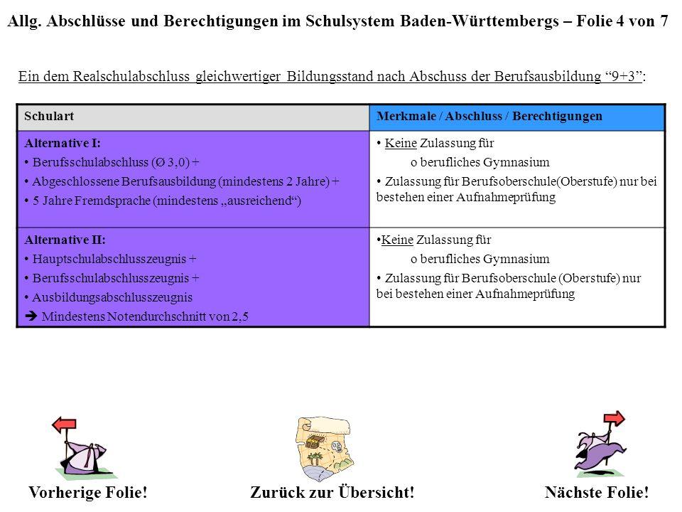 Allg. Abschlüsse und Berechtigungen im Schulsystem Baden-Württembergs – Folie 4 von 7 Ein dem Realschulabschluss gleichwertiger Bildungsstand nach Abs