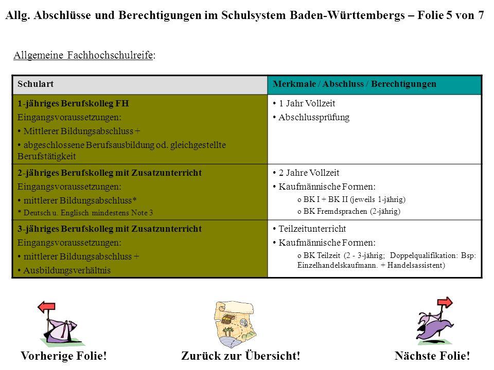 Allg. Abschlüsse und Berechtigungen im Schulsystem Baden-Württembergs – Folie 5 von 7 Allgemeine Fachhochschulreife: Zurück zur Übersicht!Nächste Foli