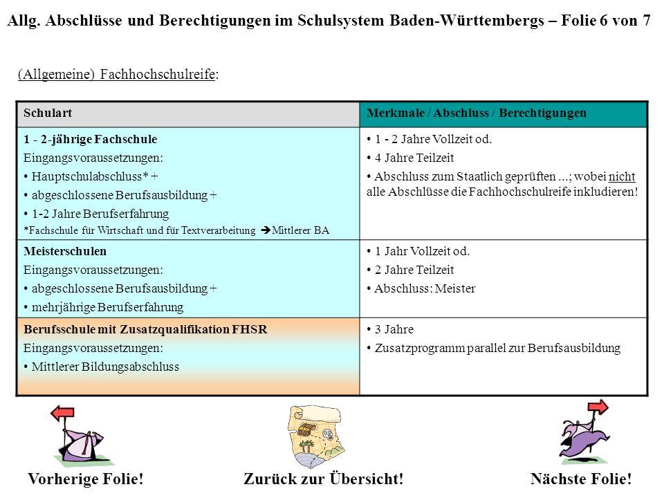 Allg. Abschlüsse und Berechtigungen im Schulsystem Baden-Württembergs – Folie 6 von 7 (Allgemeine) Fachhochschulreife: Zurück zur Übersicht!Nächste Fo