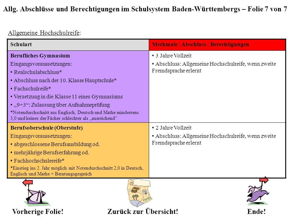 Allg. Abschlüsse und Berechtigungen im Schulsystem Baden-Württembergs – Folie 7 von 7 Allgemeine Hochschulreife: Zurück zur Übersicht!Vorherige Folie!