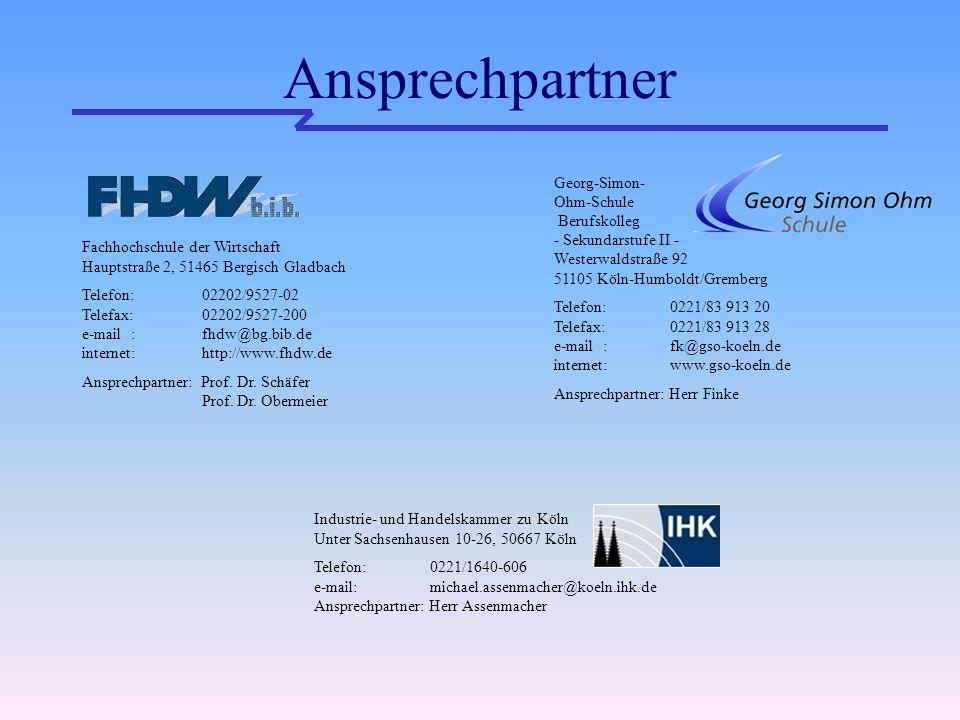 Ansprechpartner Fachhochschule der Wirtschaft Hauptstraße 2, 51465 Bergisch Gladbach Telefon: 02202/9527-02 Telefax: 02202/9527-200 e-mail : fhdw@bg.bib.de internet: http://www.fhdw.de Ansprechpartner: Prof.
