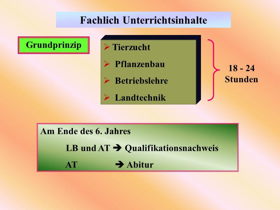 Fachlich Unterrichtsinhalte Grundprinzip Tierzucht Pflanzenbau Betriebslehre Landtechnik 18 - 24 Stunden Am Ende des 6.