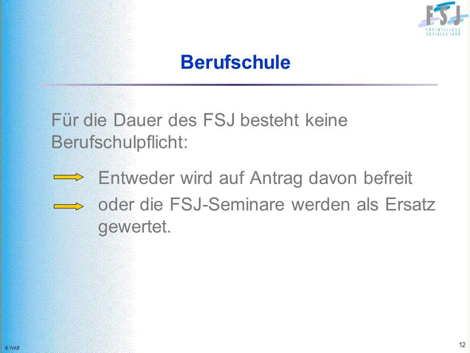 © WAB 12 Berufschule Für die Dauer des FSJ besteht keine Berufschulpflicht: Entweder wird auf Antrag davon befreit oder die FSJ-Seminare werden als Er