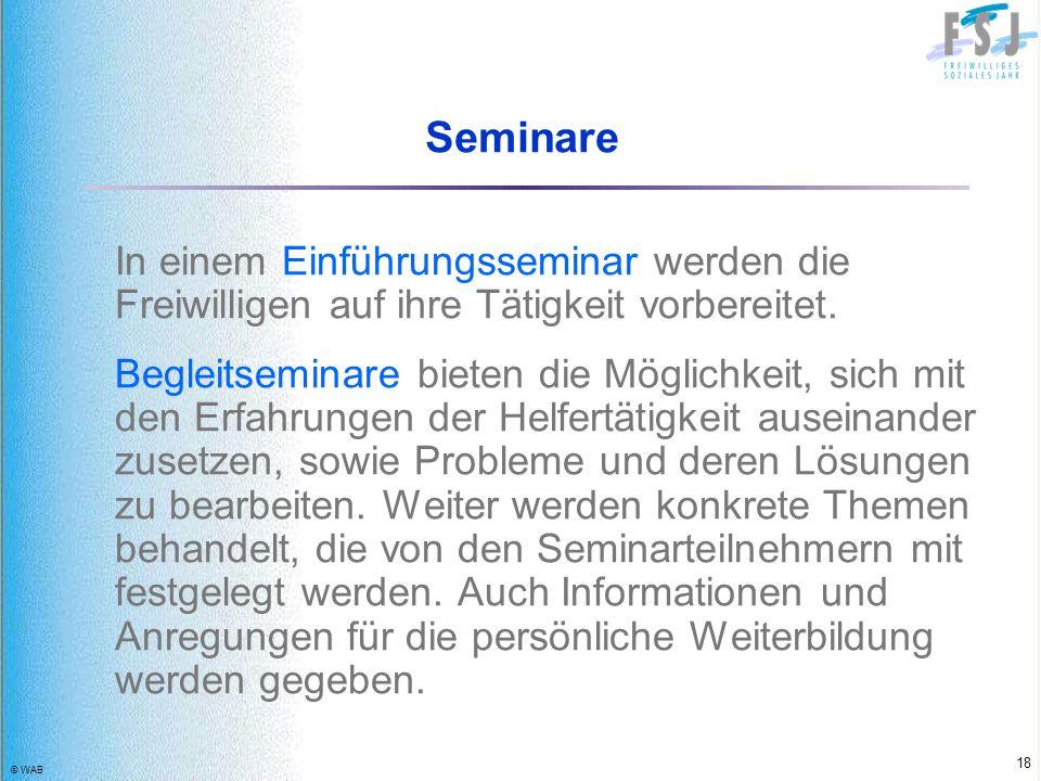© WAB 18 Seminare In einem Einführungsseminar werden die Freiwilligen auf ihre Tätigkeit vorbereitet. Begleitseminare bieten die Möglichkeit, sich mit