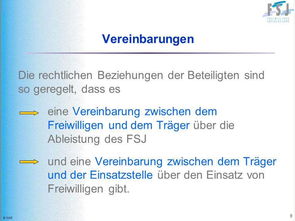 © WAB 9 Vereinbarungen Die rechtlichen Beziehungen der Beteiligten sind so geregelt, dass es eine Vereinbarung zwischen dem Freiwilligen und dem Träge