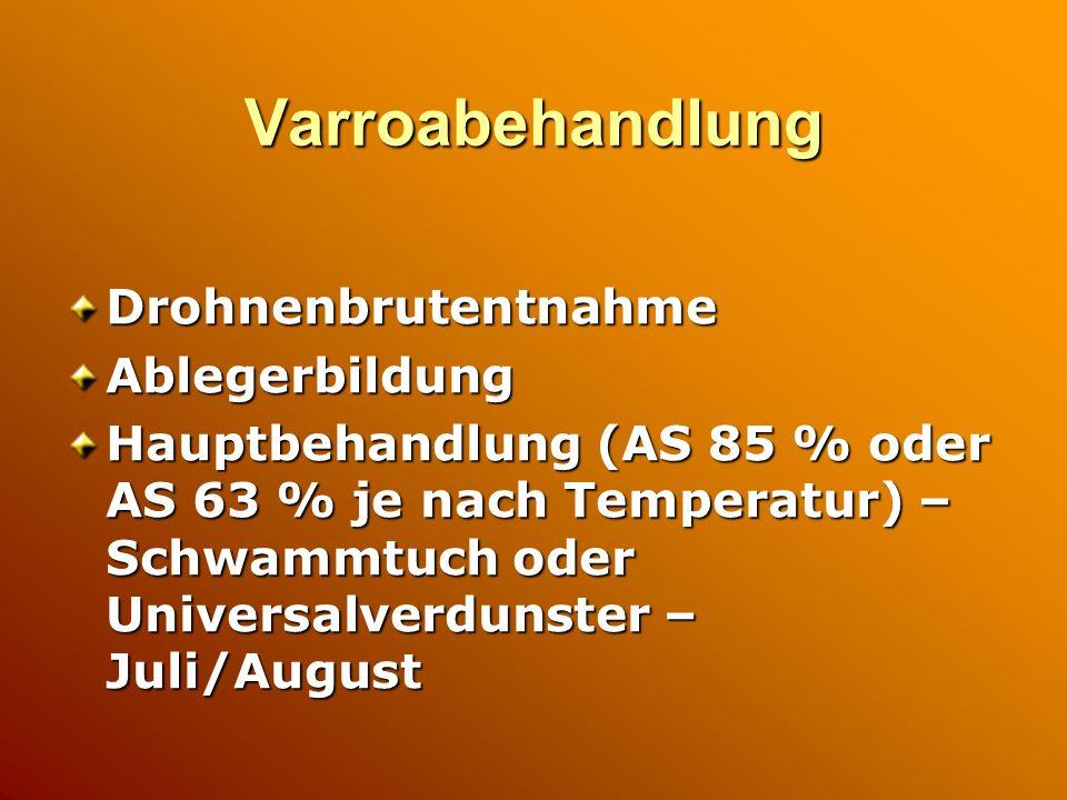 Varroabehandlung DrohnenbrutentnahmeAblegerbildung Hauptbehandlung (AS 85 % oder AS 63 % je nach Temperatur) – Schwammtuch oder Universalverdunster – Juli/August