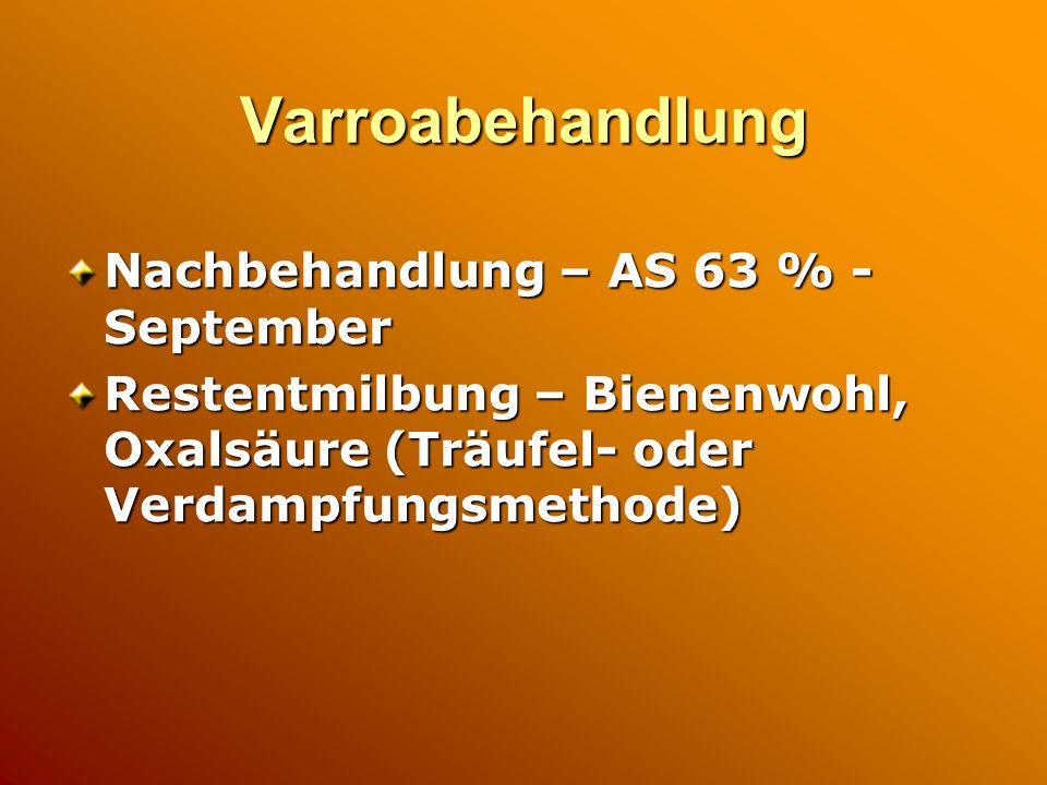 Varroabehandlung Nachbehandlung – AS 63 % - September Restentmilbung – Bienenwohl, Oxalsäure (Träufel- oder Verdampfungsmethode)